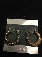 VINTAGE STERLING SILVER 925 HOOP EARRINGS