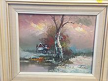 Beautiful Farm Winter Scene signed by Luther - oil on canvas