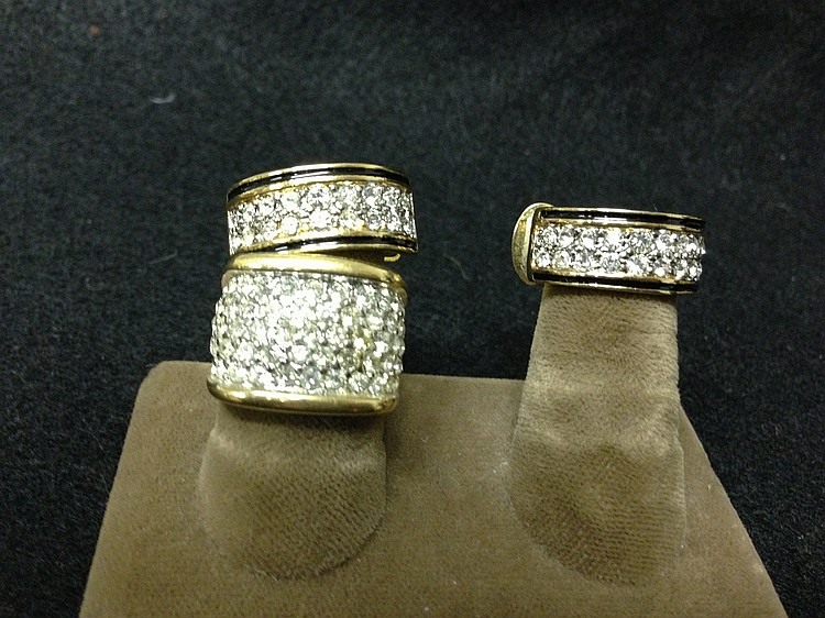 Gold Plated Clip-on Earrings and Ring I4k Gold Electroplate with Rhinestones