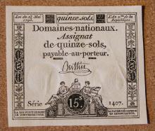 Domaines nationaux Assignat de quinze sols Note
