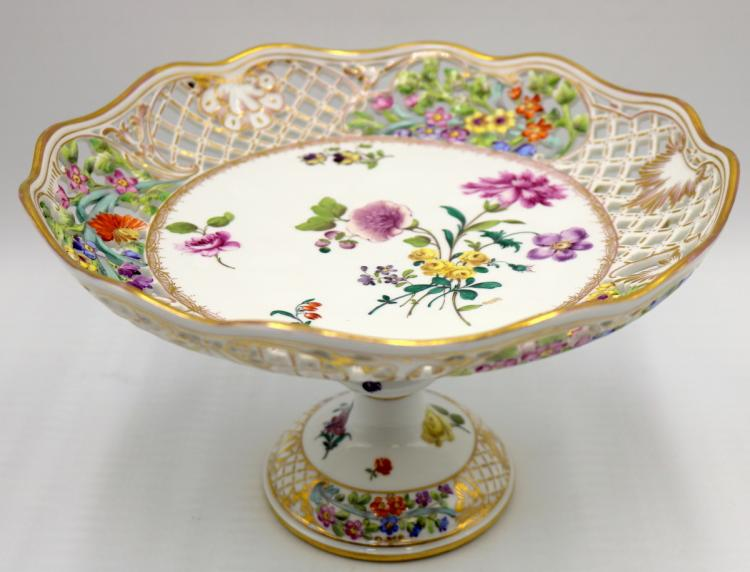 19th C. Meissen Hand Painted Porcelain Reticulated Compote