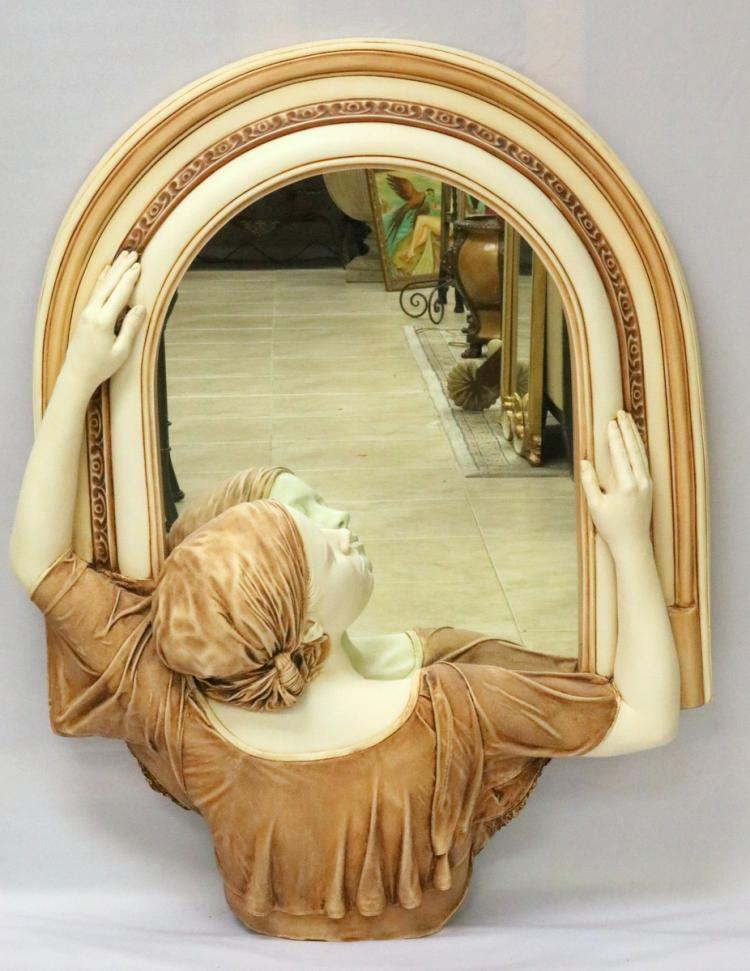 Large Marc Sijan Hand Crafted Pottery Sculpture & Mirror