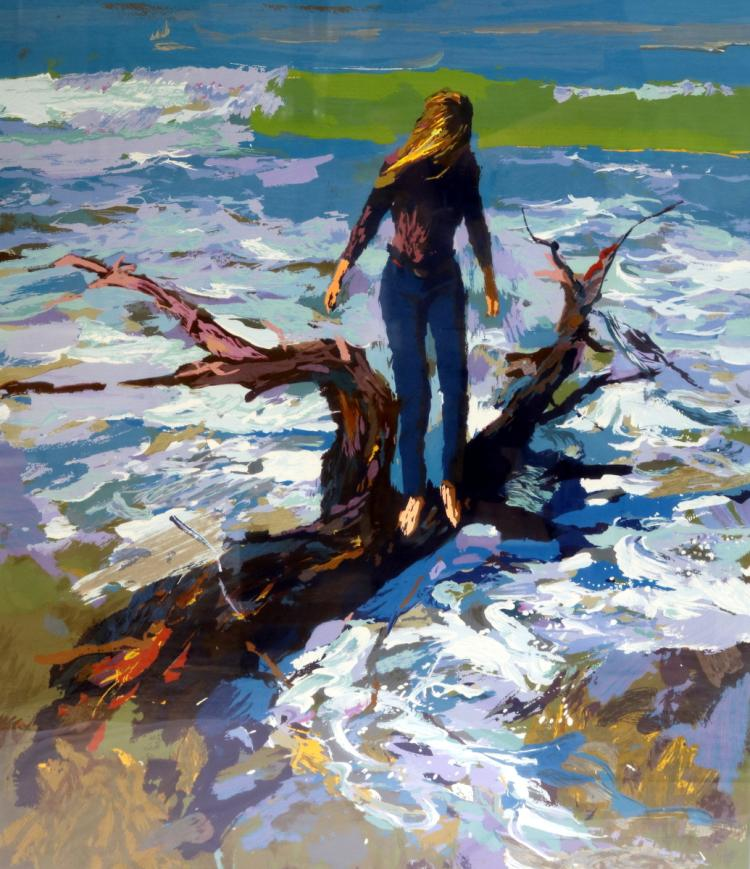 "Nicola Simbari (Italian 1927-2012) ""Driftwood"" Serigraph"