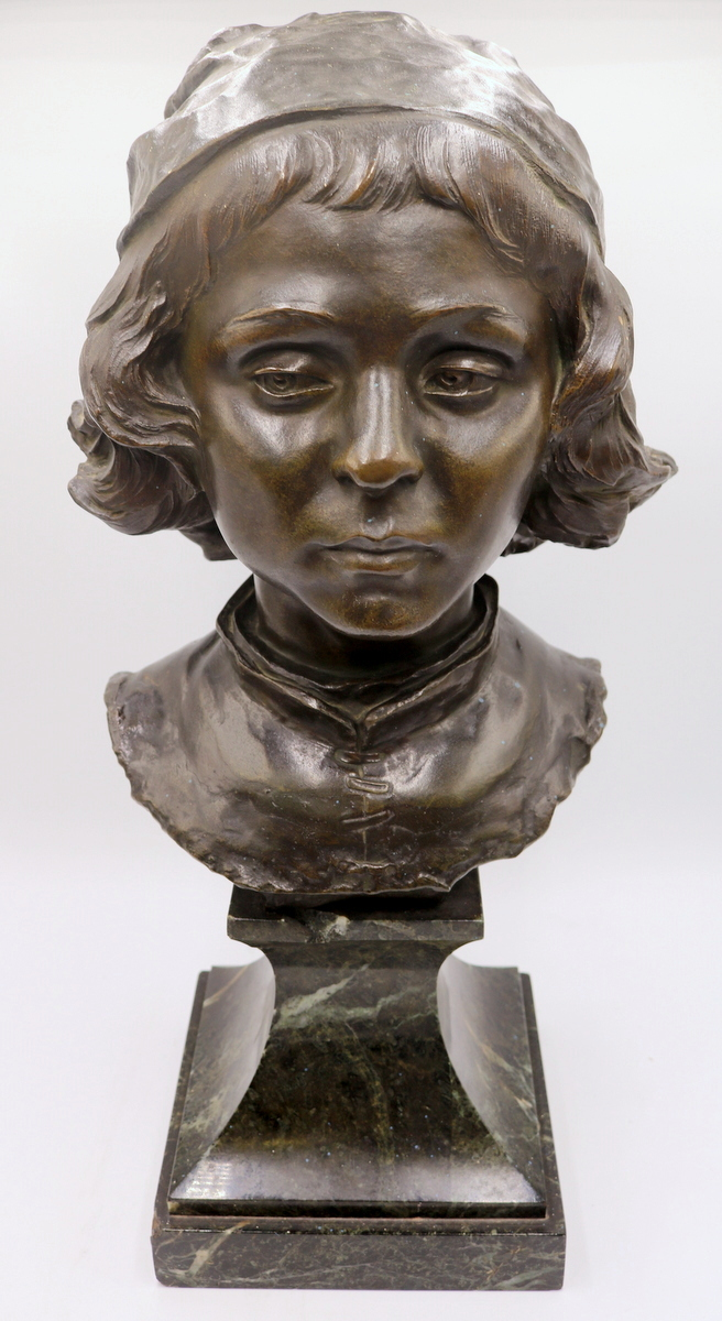 "Jean Antoine Injalbert (French 1845-1933) ""Filipino Lippi"" Bronze Bust"