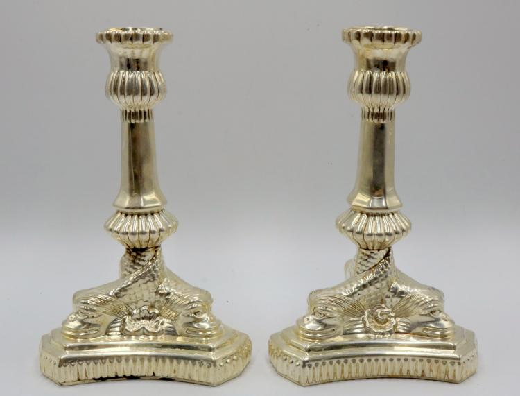 Pair of Vintage Tiffany & Co. Sterling Dolphin Candlesticks