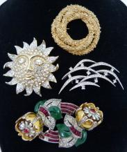 4 COSTUME JEWELRY SIGNED JEWELED BROOCHES