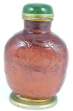 CHINESE CARVED CARNELIAN & JADE SNUFF BOTTLE