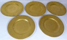 FIVE HUTSCHENREUTHER SELB GERMAN GOLD GILT PLATES