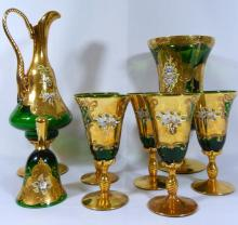 BOHEMIAN GLASS w/GOLD GILT & APPLIED PORCELAIN SET