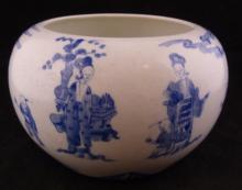 CHINESE QIANLONG BLUE & WHITE BRUSH POT