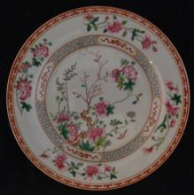 CHINESE FAMILLE ROSE PORCELAIN FLORAL PLATE