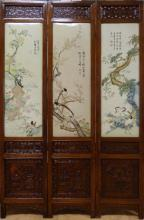 CHINESE ANTIQUE PORCELAIN PLAQUE ROSEWOOD SCREEN