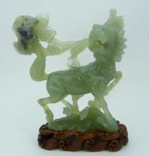 CHINESE JADE CARVED FOO LION & BAT SCULPTURE