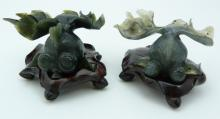 PAIR CHINESE JADE CARVED KOI FISH ON STANDS