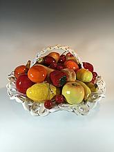 Capodimonti ceramic fruit basket