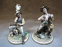 Italian pair of Capodimonti porcelain statues