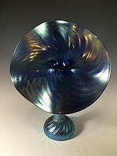 Antique iridescent glass vase, signed