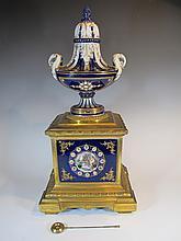 19th C French bronze enamel & porcelain clock