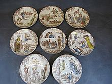 Antique set of 8 Sarreguemines plates