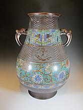 Antique 19th C Chinese cloisonne vase
