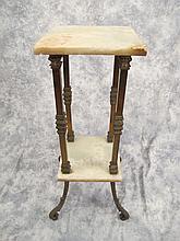 Antique French bronze & onyx pedestal