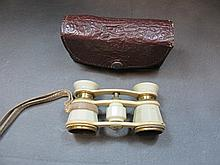 Antique bakelite & bronze opera glasses with a case
