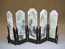 Old Chinese marble miniature folding screen
