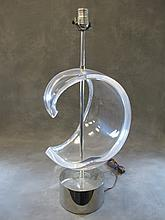 Great Lucite curved table lamp base