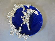 Old French porcelain & spelter plate