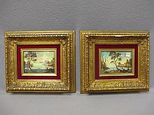Old pair of oil on board paintings, Montanier