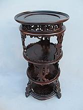 Antique Oriental carved mahogany pedestal