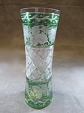 Antique Bohemian green cut to clear glass vase