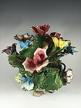 Italian Capodimonti ceramic flowers sculpture