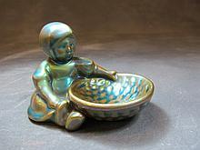 Zsolnay iridescent porcelain statue, Hungary