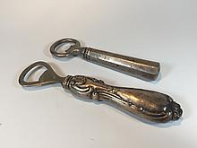 Set of 2 sterling bottle openers, marked