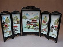 Chinese porcelain & hard stone folding screen