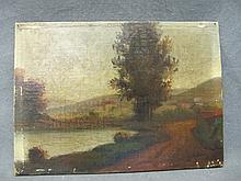Antique oil on board painting, A. BORG