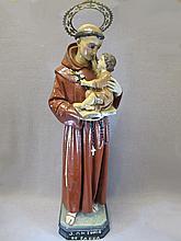 Antique Religious plaster & glass eyes statue
