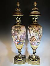 Antique French Sevres pair of porcelain urns