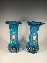 Old pair of Mary Gregory glass vases