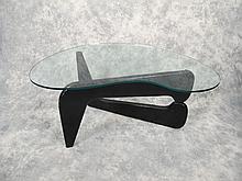 American sixties wood & glass coffee table