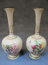 Antique Royal Worcester pair of porcelain vases