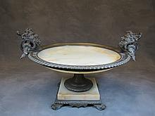 Antique French bronze & alabaster centerpiece