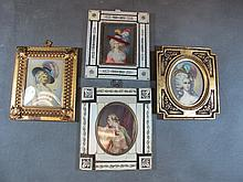 Set of 4 prints on celuloide & bone frame