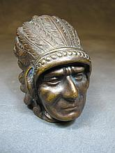Old American Indian bronze sculpture
