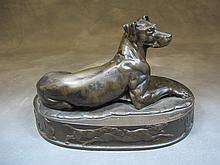 F. Barbedienne dog bronze statue