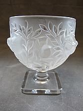 Signed Lalique, France glass vase