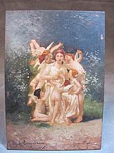 Antique painting on print on wood