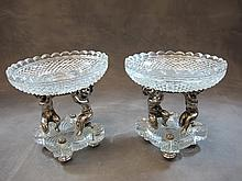20th C signed Baccarat pair of centerpieces