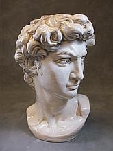 Old ceramic David bust statue